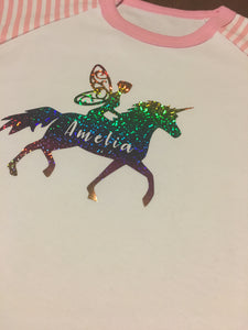Personalised Fairy on a Unicorn pyjamas