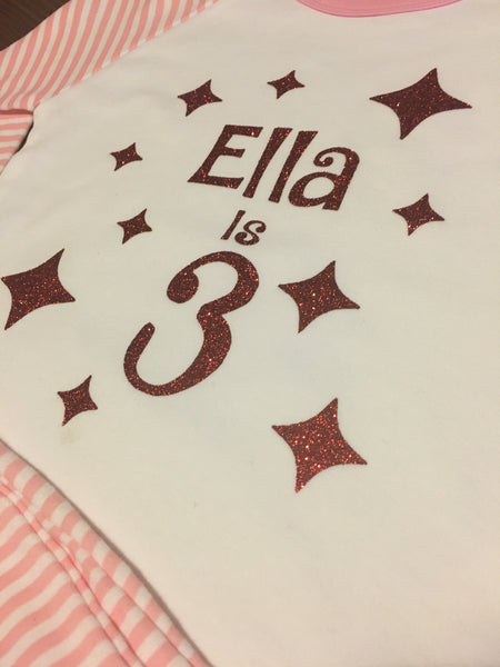 Personalised Sparkling Birthday Pyjama Set
