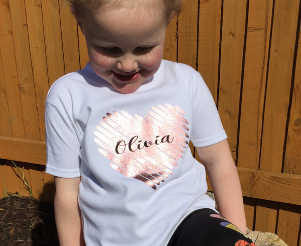 Scribble Heart Name T Shirt