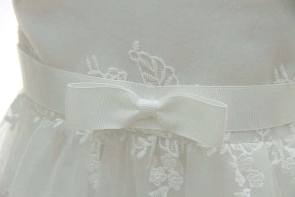 Long Embroidery Christening Dress In Ivory