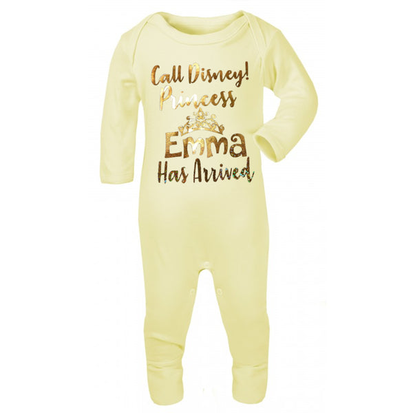 Personalised New Princees Has Arived Baby Grow