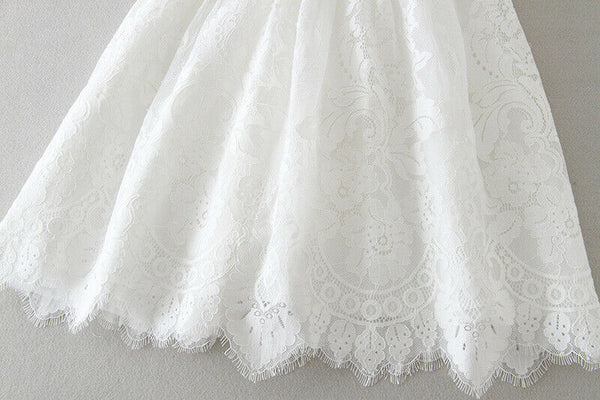 'Jasmine' White Layered Skirt Christening Dress