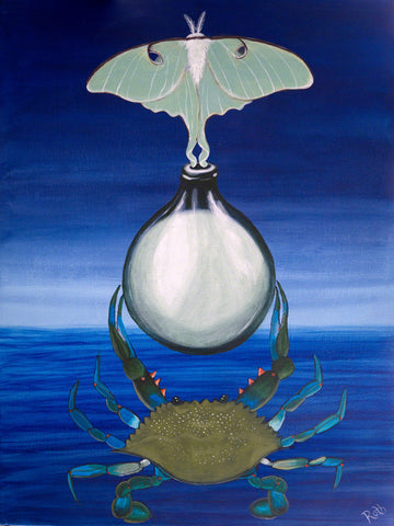 Moon Vessel surreal landscape by Harold Roth acrylic on canvas