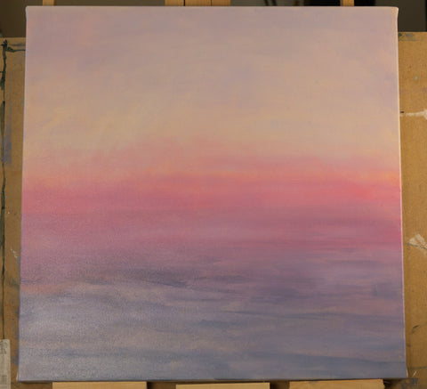 painting of a sunset work in progress by harold roth