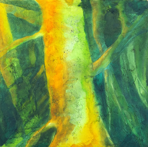 Tree watercolor on light dimensional ground on canvas
