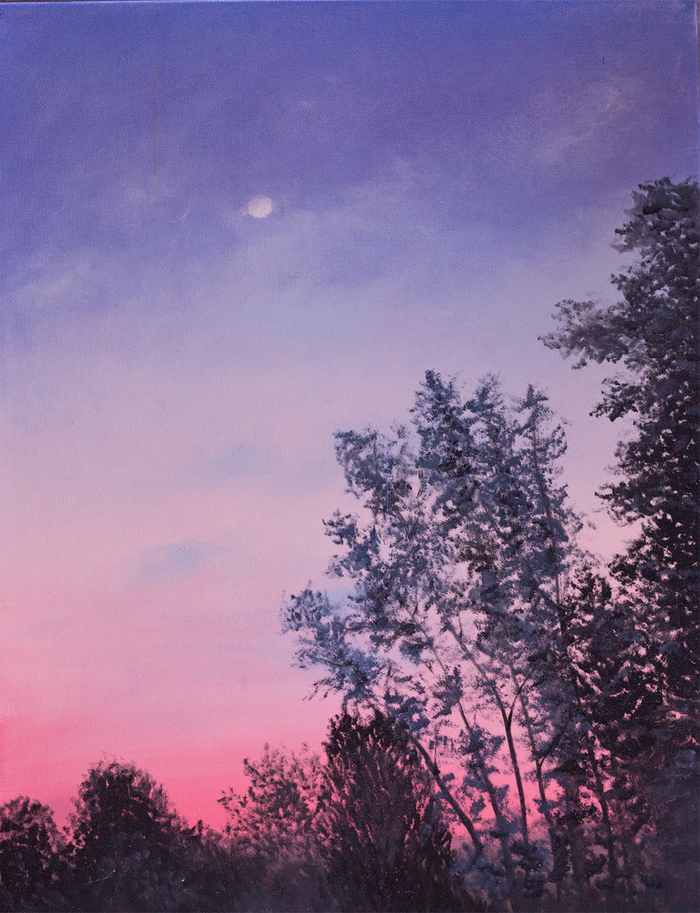 October Moon Landscape Painting