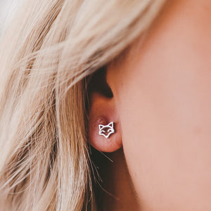 Open Fox Stud Hypoallergenic Earrings