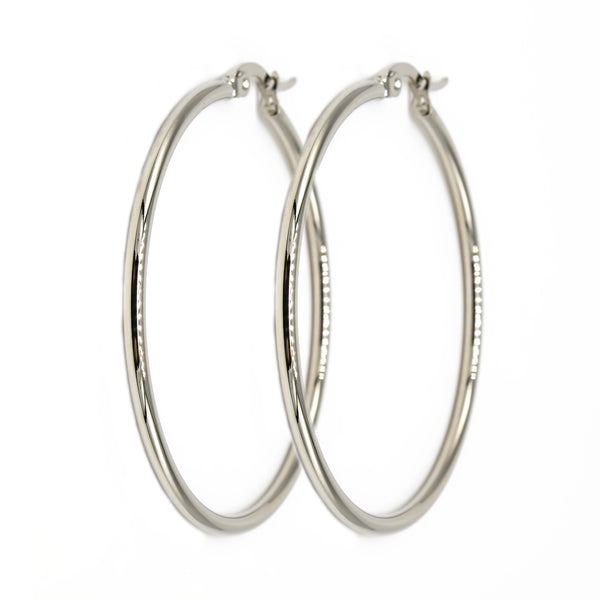 Silver Hoop 45mm Hypoallergenic Earrings