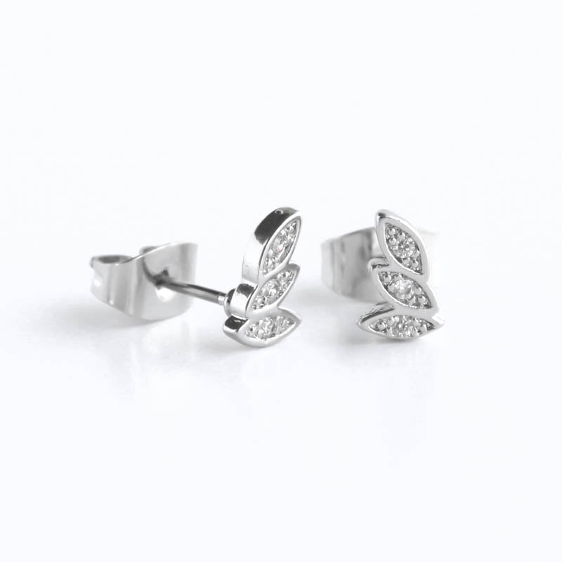 CZ Paved 3 Leaf Hypoallergenic Earrings