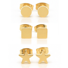 Gold Shapes Hypoallergenic Earring Set