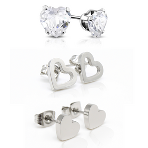 Heart Hypoallergenic Earring Set