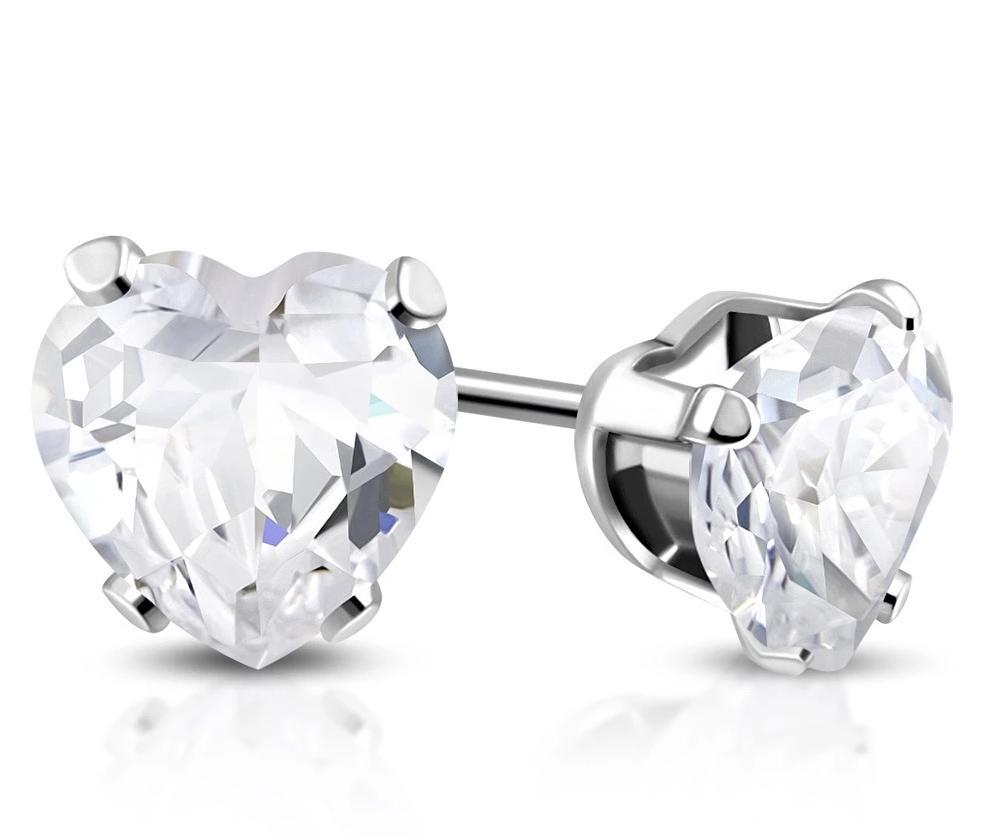 6mm Love Heart Cubic Zirconia Hypoallergenic Earrings