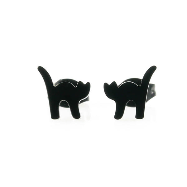 Black Cat Hypoallergenic Earrings