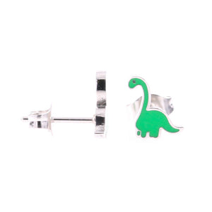 Green Dinosaur Stud Hypoallergenic Earrings