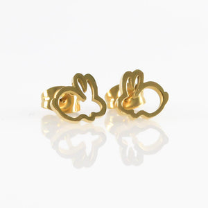 Open Bunny Gold Hypoallergenic Earrings