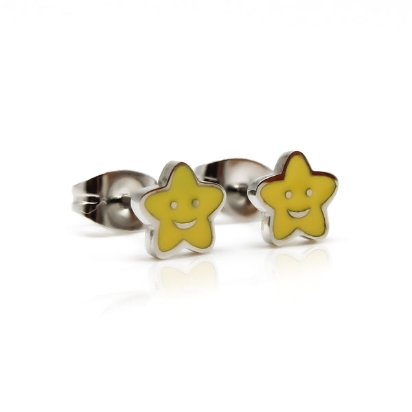 Kids Smiley Star Stud Hypollergenic Earrings