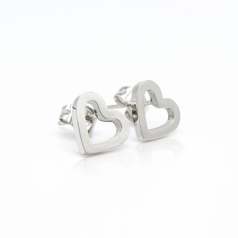 Open Heart Stud Hypoallergenic Earrings
