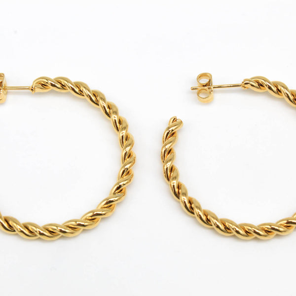 Gold Twisted Half Hoop Hypoallergenic Earrings