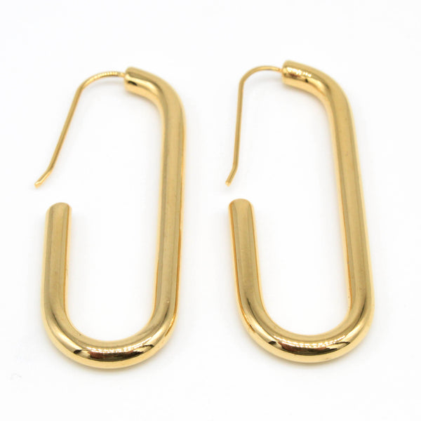 Gold Ovate Hoop Hypoallergenic Earrings