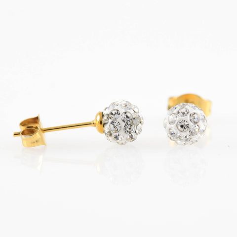 Gold Shamballa Hypoallergenic Earrings Clear