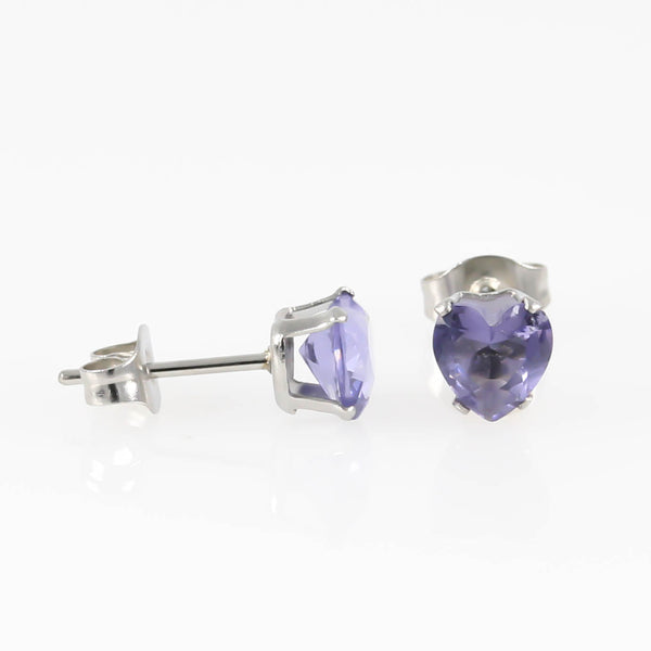 Violet Love Heart Cubic Zirconia Hypoallergenic Earrings