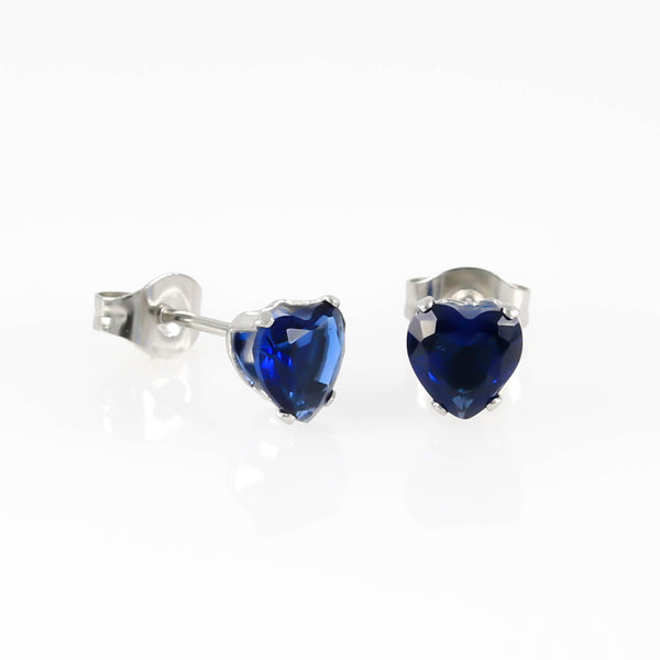 Indigo Love Heart Cubic Zirconia Hypoallergenic Earrings