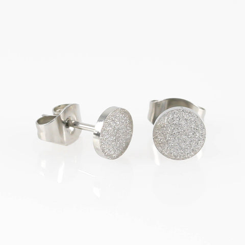 Sandblasted Round Hypoallergenic Earrings