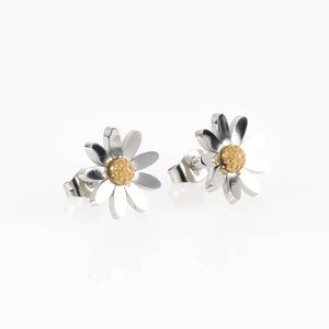 Silver & Gold Daisy Stud Hypoallergenic Earrings