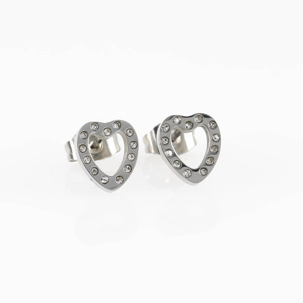 Open Heart CZ Hypoallergenic Earrings
