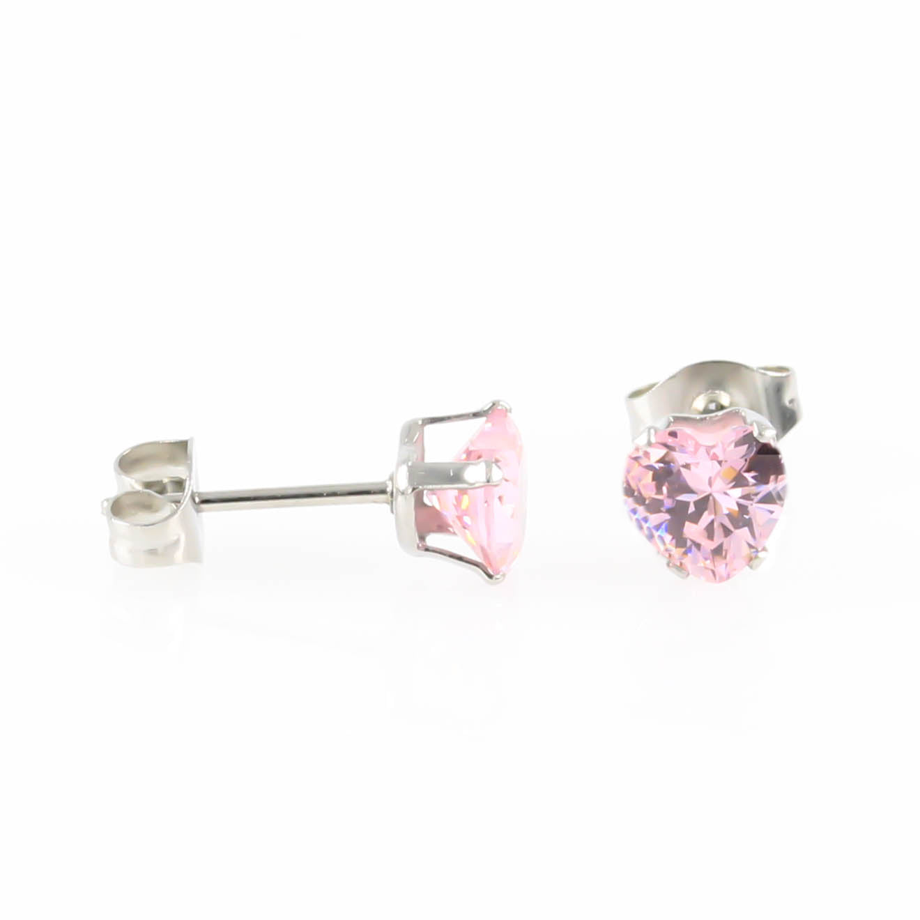 Pink Love Heart Cubic Zirconia Hypoallergenic Earrings