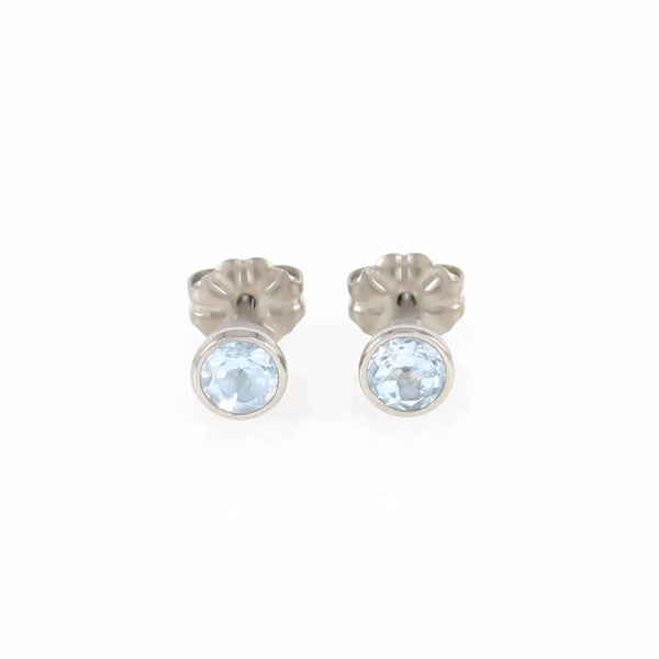 Blue Topaz Gem Stone Titanium Stud Earrings