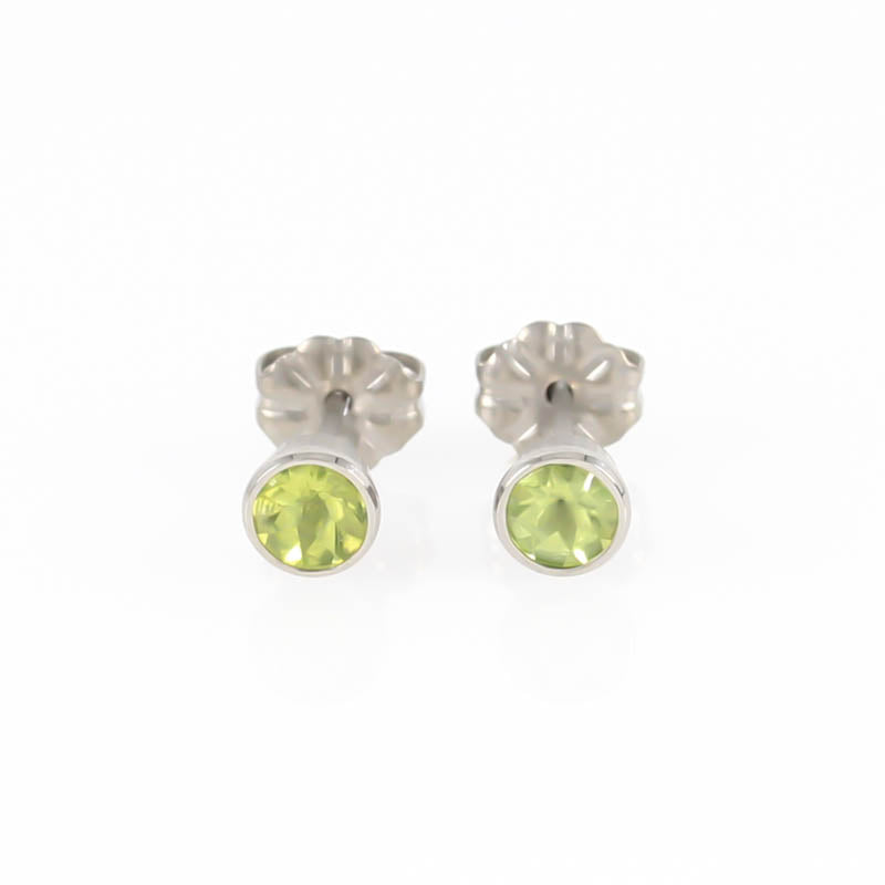 Peridot Gem Stone Titanium Stud Earrings