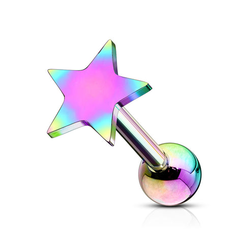 Single Star Tragus Barbell Hypoallergenic Stud