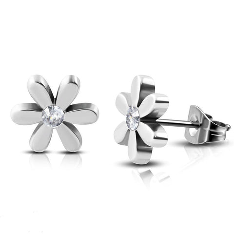 7mm Flower Stud Hypoallergenic Earrings