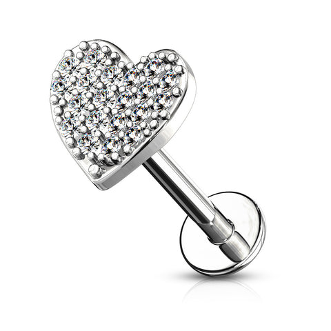Single CZ Paved Heart Cartilage Hypoallergenic Stud