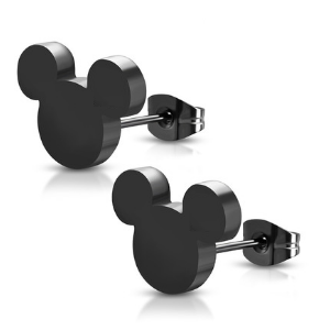 Black Stainless Steel Mouse Stud Earrings