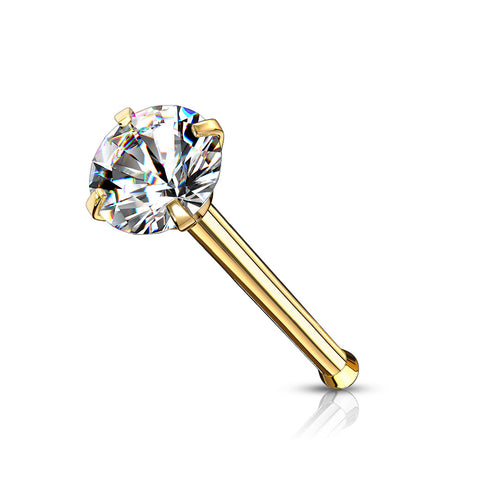 2mm Prong Set Round CZ Hypoallergenic Nose Bone Stud