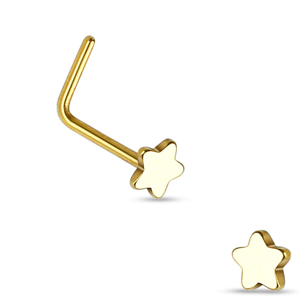 Star L Bend Hypoallergenic Nose Stud