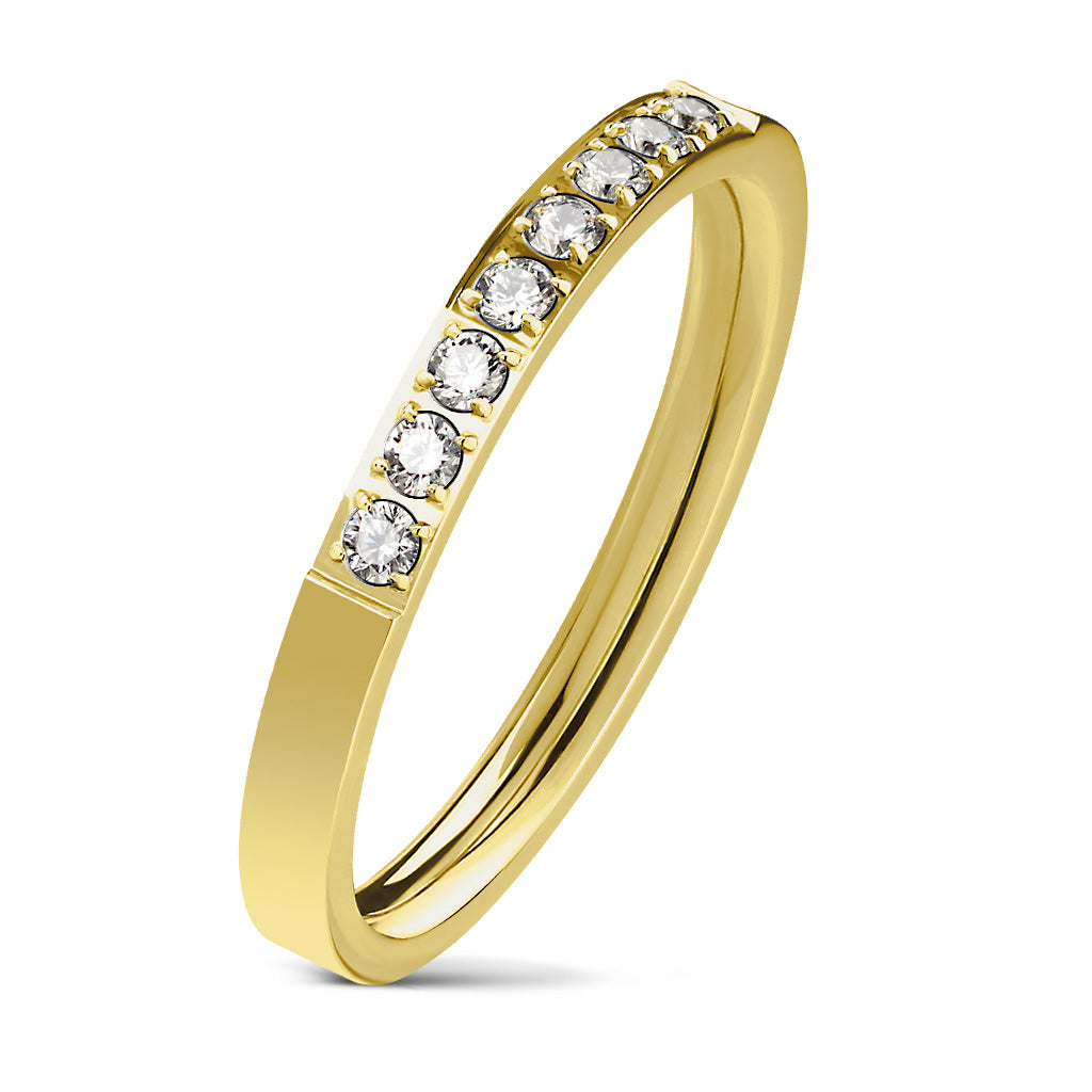 8 CZ Set Single Lined Gold Ring