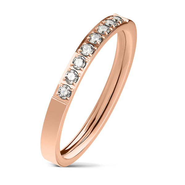 8 CZ Set Single Lined Rose Gold Ring