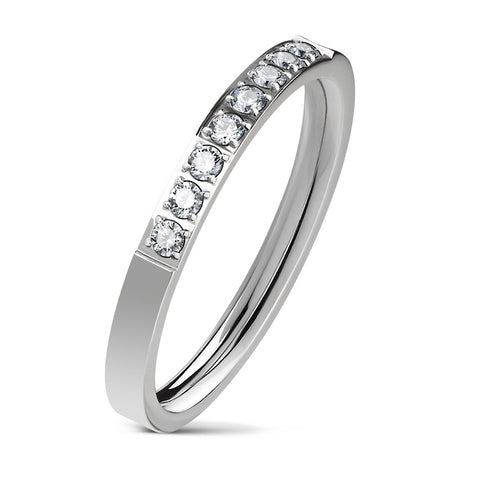 8 CZ Set Single Lined Silver Ring