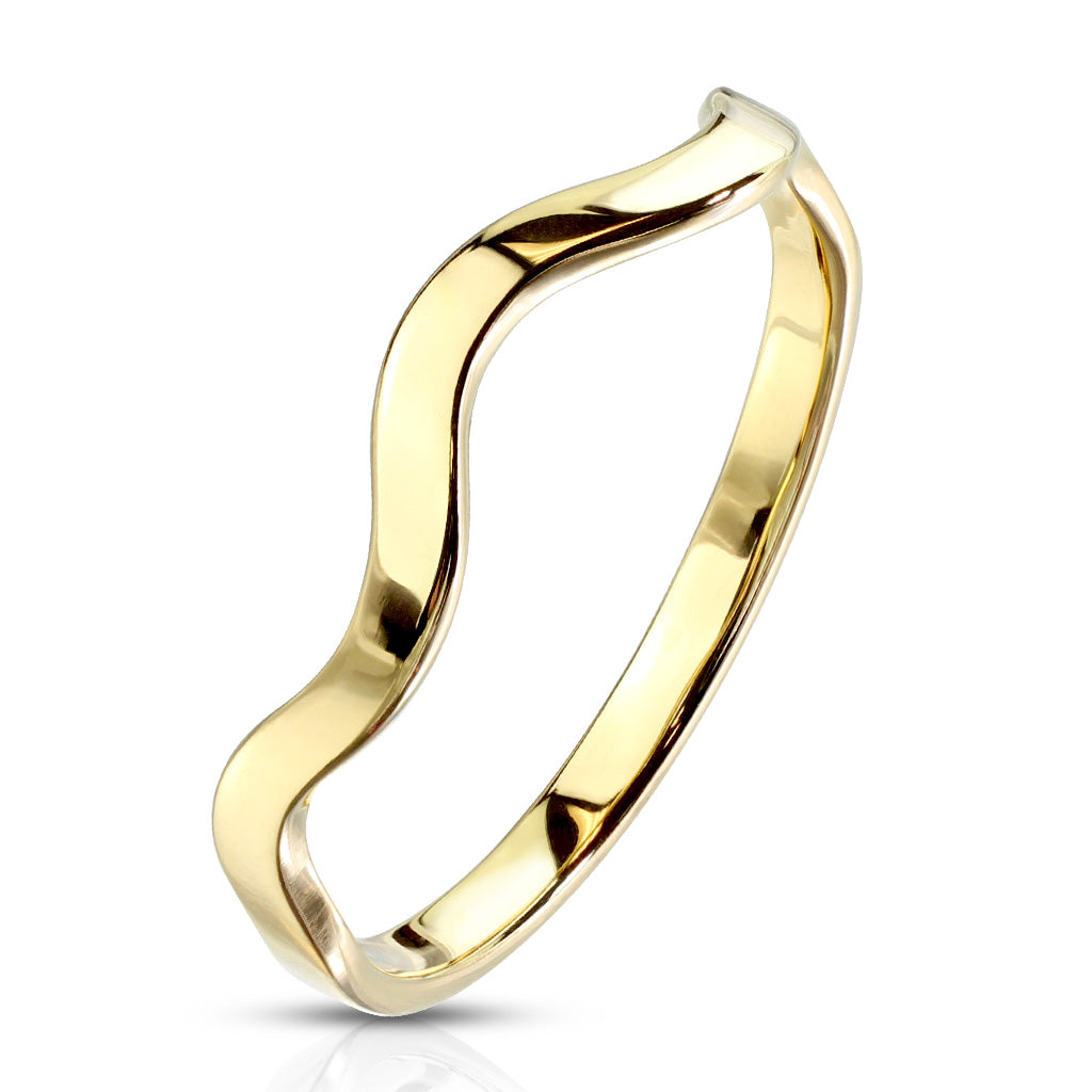 Wavy Stackable Gold Ring