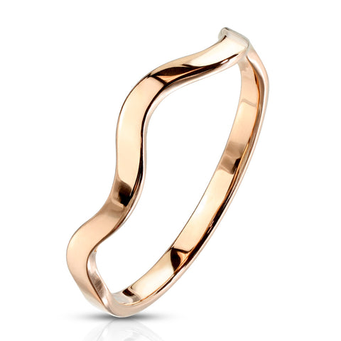 Wavy Stackable Rose Gold Ring