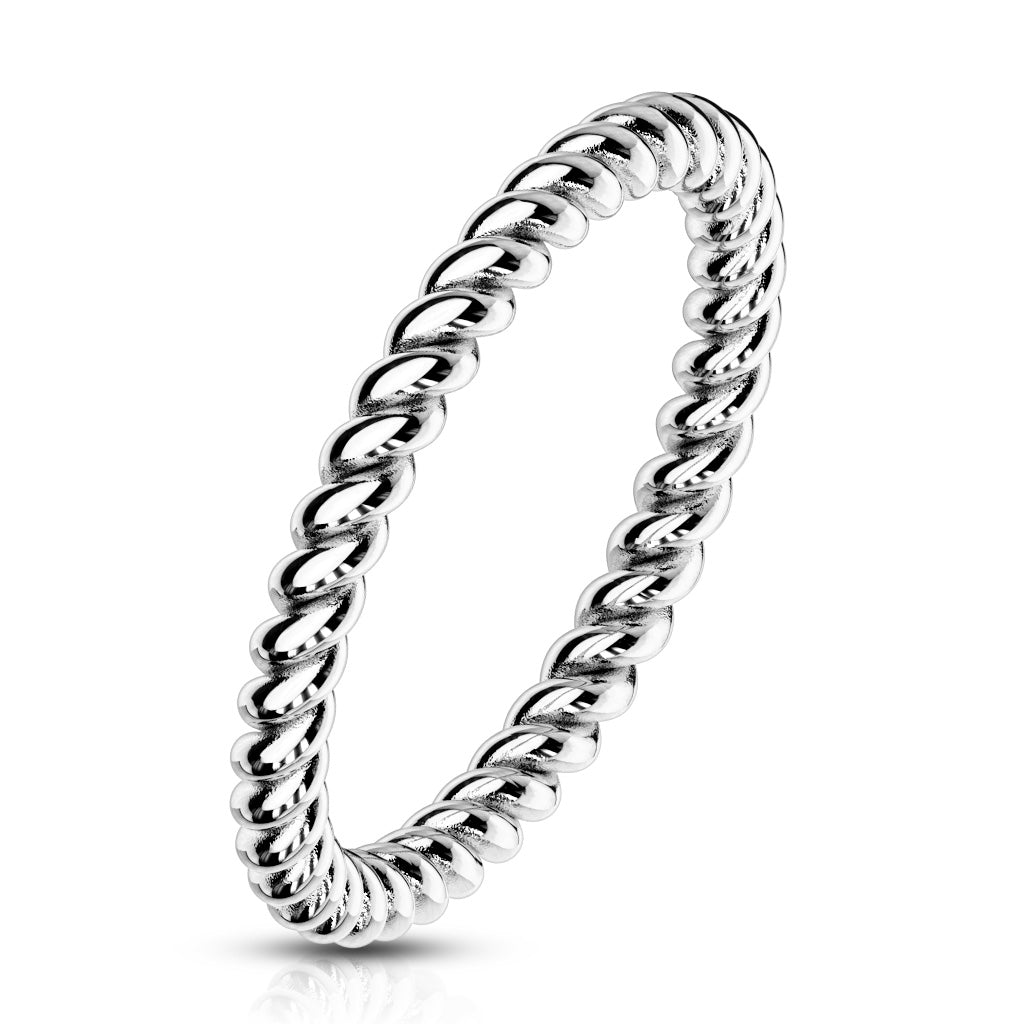 Braided Silver Stackable Ring