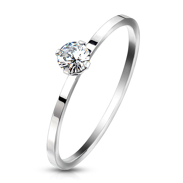 Prong Set Round CZ on Plain Band Ring