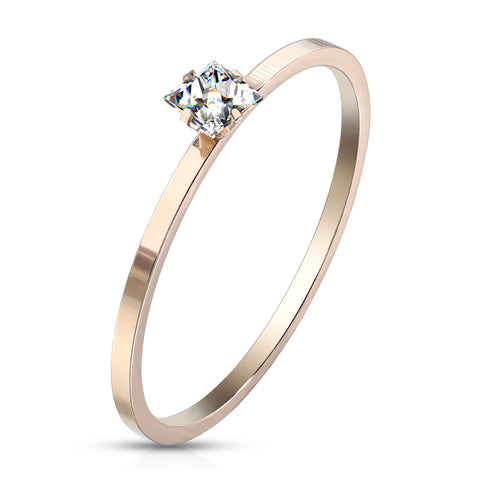 Dia Shape CZ Prong Set Rose Gold Ring