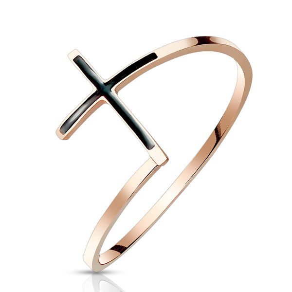 Black Enamel Cross Rose Gold Ring