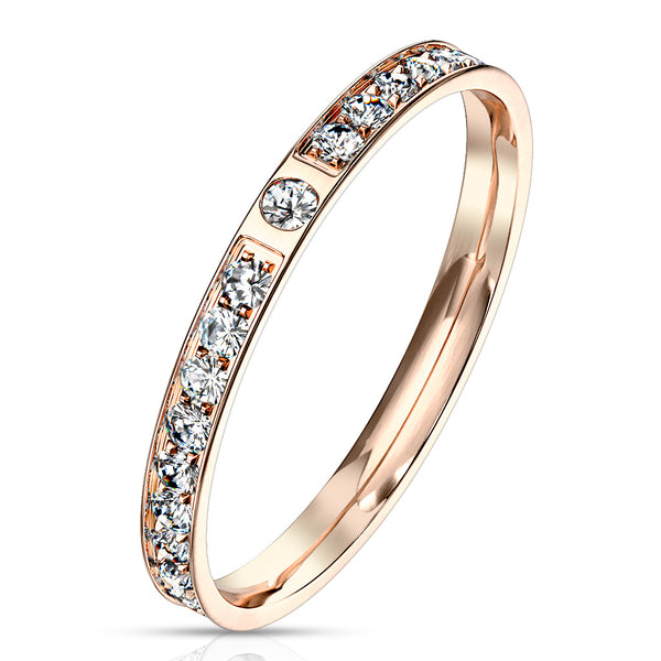 CZ Paved Rose Gold Ring