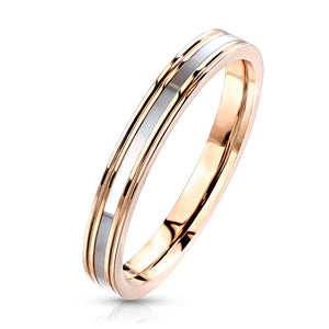 Mother of Pearl Inlaid Center Rose Gold Rings