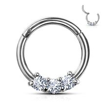 Single 3-CZ Set Hinged Segment Hypoallergenic Hoop